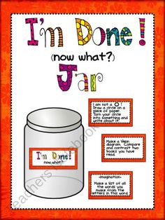 I'm Done (Now What?) Early Finishers Jar product from aimeev on TeachersNotebook.com