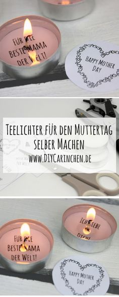 DIY Gift for Mother's Day - make tealight with love message yourself (+ free template) - geschenkidee - Muttertag Diy Gifts For Mothers, Fathers Day Presents, Mother Day Gifts, Diy Presents, Birthday Presents, Small Business Cards, Holiday Break, Mother's Day Diy, Last Minute Gifts