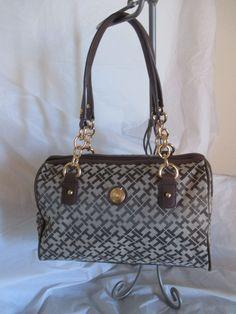 Tommy Hilfiger Brown Beige Handbag Purse Authentic Satchel 6925747 272 Brand New #TommyHilfiger #Satchel