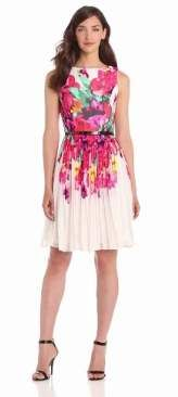 Adrianna Papell Women's Floral Fit and Flare Pleated Dress