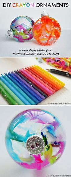 DIY crayon decorated ornaments - fun craft for older kids to make!