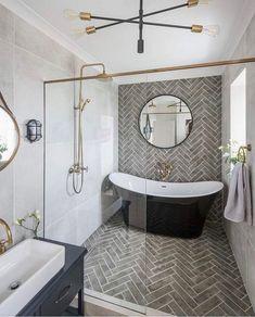 Modern Farmhouse, Rustic Modern, Classic, light and airy master bathroom design ideas. Bathroom makeover ideas and bathroom renovation tips. Wet Rooms, Bathroom Renos, Bathroom Renovations, Wet Room Bathroom, White Bathroom, Wet Room With Bath, Bathroom Tiling, Bathroom Accent Wall, Relaxing Bathroom