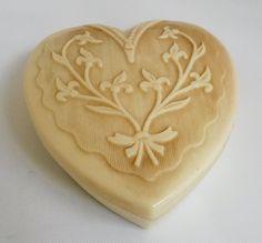 Vintage Coro Celluloid Plastic Heart Shaped Jewelry Box 1940s #Coro