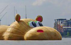 HippopoThames, giant hippo Florentijn Hofman, Florentijn Hofman art, Florentijn Hofman sculptures, inflatable Rubber Duck, Florentijn Hofman bunny, giant sculptures, London Thames hippo, Dutch artists