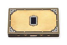 AN ART DECO DIAMOND, ENAMEL AN
