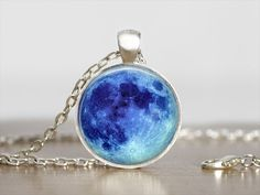Blue Moon Necklace - Full Moon Necklace - Space Jewelry - Moon Pendant