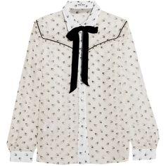 Miu Miu Ruffled printed silk-chiffon blouse (3.820 RON) ❤ liked on Polyvore featuring tops, blouses, frill blouse, ruffle blouse, frill top, miu miu top and frilly blouse