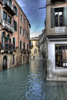 Venice, Italy - Campo San Moise at high water