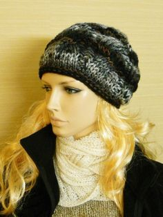 Womens Cable Slouchy Slouch Hat in Bulky Black by mckelveydalton, $35.00