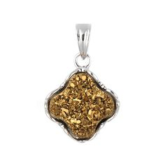 Tresara™ Pendant with Gold Colored Druzy Agate that is bezel set into genuine 925 sterling silver. It also features a secure bail, which allows it to easily fit on most chains.