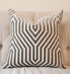 Designer Geometric Pillow Mary McDonald Gray by MotifPillows
