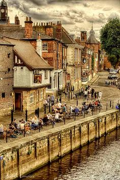 View from Ouse Bridge of Kings Staith in York, North Yorkshire, England_ UK