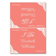 I Do :: White Lace On Coral Elegant Wedding Table Cards