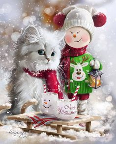 Diamond Painting Christmas Cat and Doll Man Paint with Diamonds Art Crystal Craft Decor Christmas Scenes, Christmas Animals, Christmas Love, Christmas Cats, Christmas Pictures, All Things Christmas, Vintage Christmas, Merry Christmas, Winter Cat