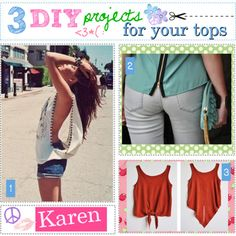 """""""3 DIY projects for your tops! :)"""" by every-girl-has-a-tip on Polyvore"""