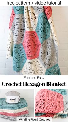 Easy hexagon crochet blanket or baby blanket. Free pattern by Winding Road Crochet. Hexagon Crochet Pattern, Crochet Hexagon Blanket, Crochet Quilt, Afghan Crochet Patterns, Crochet Yarn, Crochet Stitches, Free Pattern, Diy Crochet Blankets, Dishcloth Crochet