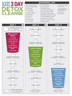 Dr. Oz's 3-Day Detox Cleanse One-Sheet  http://www.doctoroz.com/videos/dr-ozs-3-day-detox-cleanse-one-sheet