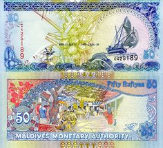 Maldives Rufiyaa banknotes for sale. Dealer of quality collectible world banknotes, fun notes and banknote accessories serving collectors around the world. Over 5000 world banknotes for sale listed with scans and images online. Folding Money, Money Notes, Stamp Collecting, Postage Stamps, Vintage World Maps, How To Make Money, Things To Come, Banks, World Coins
