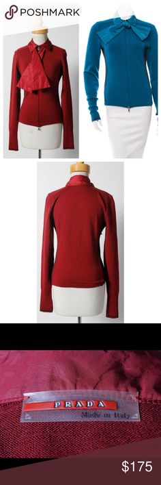 Pretty in Prada Wool Sweater Gorgeous red wool zip up sweater. It's the perfect sweater -- It can take you from day to night. No stains, pulls or odors. Prada Sweaters