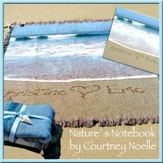"Personalized Beach gift: Beach blanket (50"" x 60"") that has name written in the real beach sand. $119"