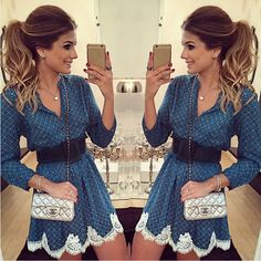 2015 summer and autumn new fashion women chiffon plaid print dress casual V-neck long sleeved lace patchwork dresses plus size