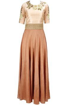 Peach and burnt orange rose embroidered anarkali set available only at Pernia's Pop-Up Shop.
