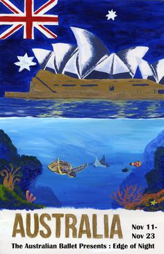 Vintage Poster Australia Sydney Marine Life Opera House Flag Australian Ballet Edge of Night. Vintage Advertising Posters, Vintage Travel Posters, Vintage Advertisements, Australian Vintage, Australian Ballet, Posters Australia, Ballet Posters, Sydney, Retro Poster