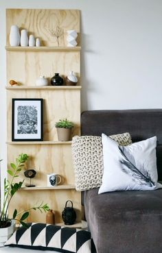 Tuesday Tips - DIY plywood shelf behind the teal table?