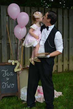 """Tea for Two"" birthday party! Daddy dressed up as ""The Butler"" for her special day! This is just the sweetest!!"