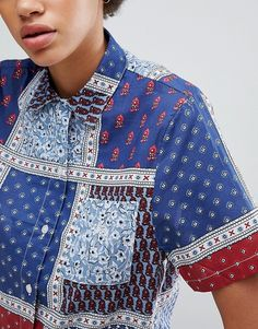 Stussy | Stussy Oversized Shirt In Paisley Patchwork Print