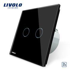 スマートスイッチ、ブラッククリスタルガラスパネル、livolo eu標準リモートスイッチ、220〜250ボルト壁ライトリモートタッチスイッチ、VL-C702R-12