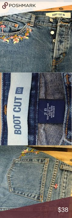 Vintage embroidered gap jeans They are a size 2R, 100% cotton, and bootcut. The embroidery is done very well and they are in excellent condition. GAP Jeans Boot Cut