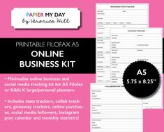 A5 Online Business and Social Media Kit - Printable Social Media Kit for Filofax A5 and Kikki K Large Planners
