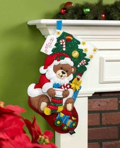 Teddy Bear Santa Christmas Stocking - Felt Applique Kit