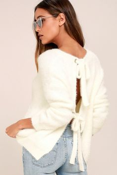 e311f5b4f3 Sip cocoa in style in the Weekend In Aspen Ivory Backless Sweater Top!  Fuzzy
