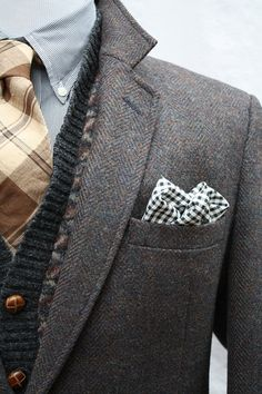 I love the mix of texture, layers, neutrals and Tweed!  Mens Vintage Tweed Sport Coat by ViVifyVintage