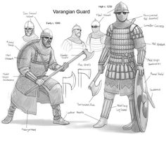 The Vikings were a very adaptive warrior society, as you can see from the varangian guard they took the eastern weapons, helmets, and armor and made it. Armadura Medieval, Viking Warrior, Viking Garb, Medieval Armor, Medieval Fantasy, Byzantine Army, Varangian Guard, Lamellar Armor, Landsknecht