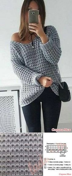 2017 NEW Autumn Winter Women Loose Soild Color V Neck Plus Size Pullover Knitted Shirt Off Shoulder Long Sleeve Sweaters Knitting Stitches, Knitting Designs, Knitting Patterns Free, Free Pattern, Casual Sweaters, Sweaters For Women, Cozy Sweaters, Crochet Clothes, Knit Crochet