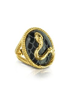 Just Cavalli Amazonia Gold Plated and Onyx Ring USA 9.5 | IT 20 | UK S at FORZIERI