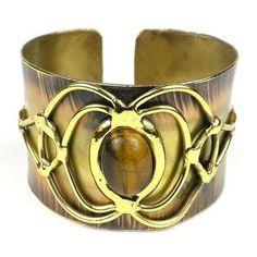 Tiger Eye Bloom Cuff - Brass Images (C)