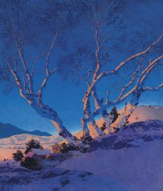 """https://www.facebook.com/MiaFeigelson """"White birches: winter"""" By Maxfield Parrish, from Philadelphia, Pennsylvania (1870 - 1966)  - oil on masonite; 54.6 x 47 cm; 21½ x 18½ in - © Sold through Christie's New York. November 27, 2007 for USD 1,161,000 [Sale 1911 - Lot 191] Provenance:  Fred and Sara Machetanz, acquired from the above By descent to the present owner. http://www.christies.com/"""