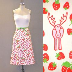 Vintage 1970s Screen Print Strawberry Moose Vested Gentress Aline Skirt by daisyandstella, $50.00 #vestedgentress  https://www.etsy.com/listing/189685791/vintage-1970s-strawberry-moose-vested