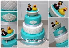 Blue and White wedding cake with Bath and ducks