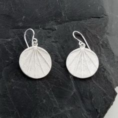 Circle Earrings w/ Leaf Imprints
