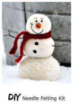 Snowman DIY Kit – Needle Felting Kit – Snowman Kit – Christmas Kit – Make Your Own – Christmas Decoration – Craft Kit – Christmas Crafts - Knitting for Beginners Snowman Kit, Felt Snowman, Snowman Crafts, Felt Crafts, Snowmen, Craft Kits, Diy Kits, Craft Supplies, Craft Ideas