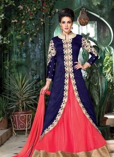 Blue & Pink jacket style Indian gown for party wear