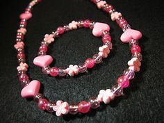 Pink beads + hearts + flowers necklace & bracelet set!