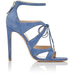 Chloe Gosselin Women's Bryonia Suede Sandals ($299) ❤ liked on Polyvore featuring shoes, sandals, heels, blue, high heels, high heel sandals, blue suede sandals, blue heeled shoes, open toe sandals and blue shoes