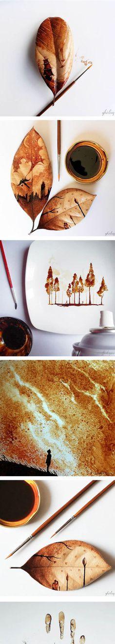 Impressive Coffee Leaf Paintings #lol #haha #funny