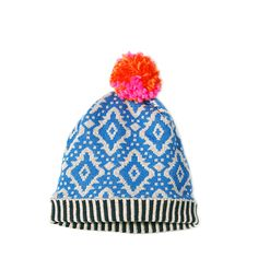 Details: Knitted hat with Himalaya ceramic pattern , thin two-toned stripes borders. Pompons on top. Entire lined with thin polar. Little Fashion, Look Fashion, Kids Fashion, Knit Crochet, Crochet Hats, Textiles, Jingle All The Way, Yarn Over, Hats For Women